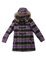 Rothschild Girls Toggle Front Fur Trim Hood Wool Look Coat - Sizes 4-6X
