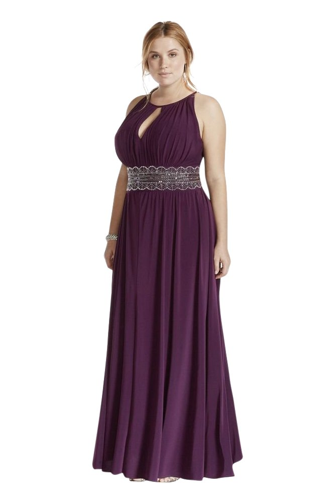 Sleeveless Keyhole Beaded Waist Plus Size Dress Style 1298W, Eggplant, 18W