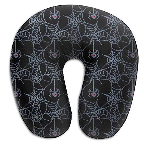 (MODREACH U Shaped Slow Rebound Memory Foam Travel Neck Pillow for Office Flight Traveling Cotton Soft Pillows Neck Support Head Rest (Spider Web))