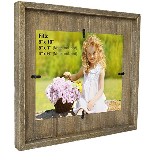 Excello Global Products 8x10 Rustic Photo Frame: Farmhouse Solid Wood Plank Photo Holder. Wall Mount Hanging Display Includes Double 4x6 and 5x7 Mattes. Ready to Hang Horizontally or Vertically ()