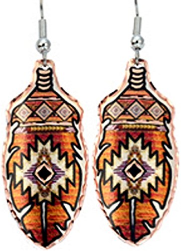 Copper Earrings Southwest Design Native American Pattern NEW