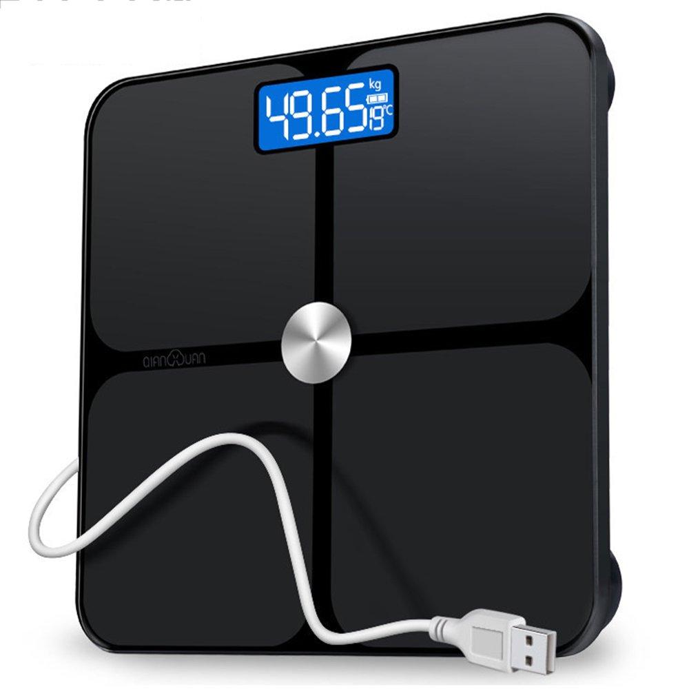 LVZAIXI 超大型LCDディスプレイを備えた精密ボディ重量バランス180 Kg / 400 Lb計量スケールおよびステップオンテクノロジーデジタルバスルームスケール ( 色 : ブラック ) B07CG53GKQ ブラック