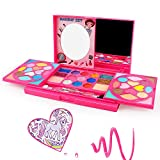 AMOSTING Kids Makeup Kits for Girls,Kids Washable Makeup Kit with Mirror,Girls Play Makeup Princess Toys for Kids,Make Up Toy Cosmetic Kit Gifts for Toddler Kids