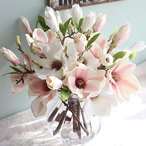 (LLJEkieee Artificial Fake Flowers Leaf Magnolia Floral Wedding Bouquet Party for Decorating Wedding Party, Home, Garden Decoration,Office,Coffee House (C))