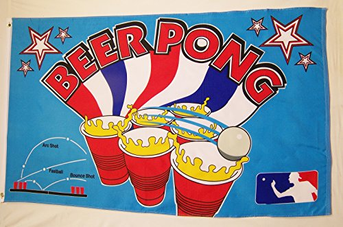 Beer Pong Flag 3' X 5' Indoor Outdoor Party Game ()