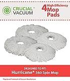 4 Hurricane Mop Pads Fit Hurricane PRO 360 Rotating Spin Magic...