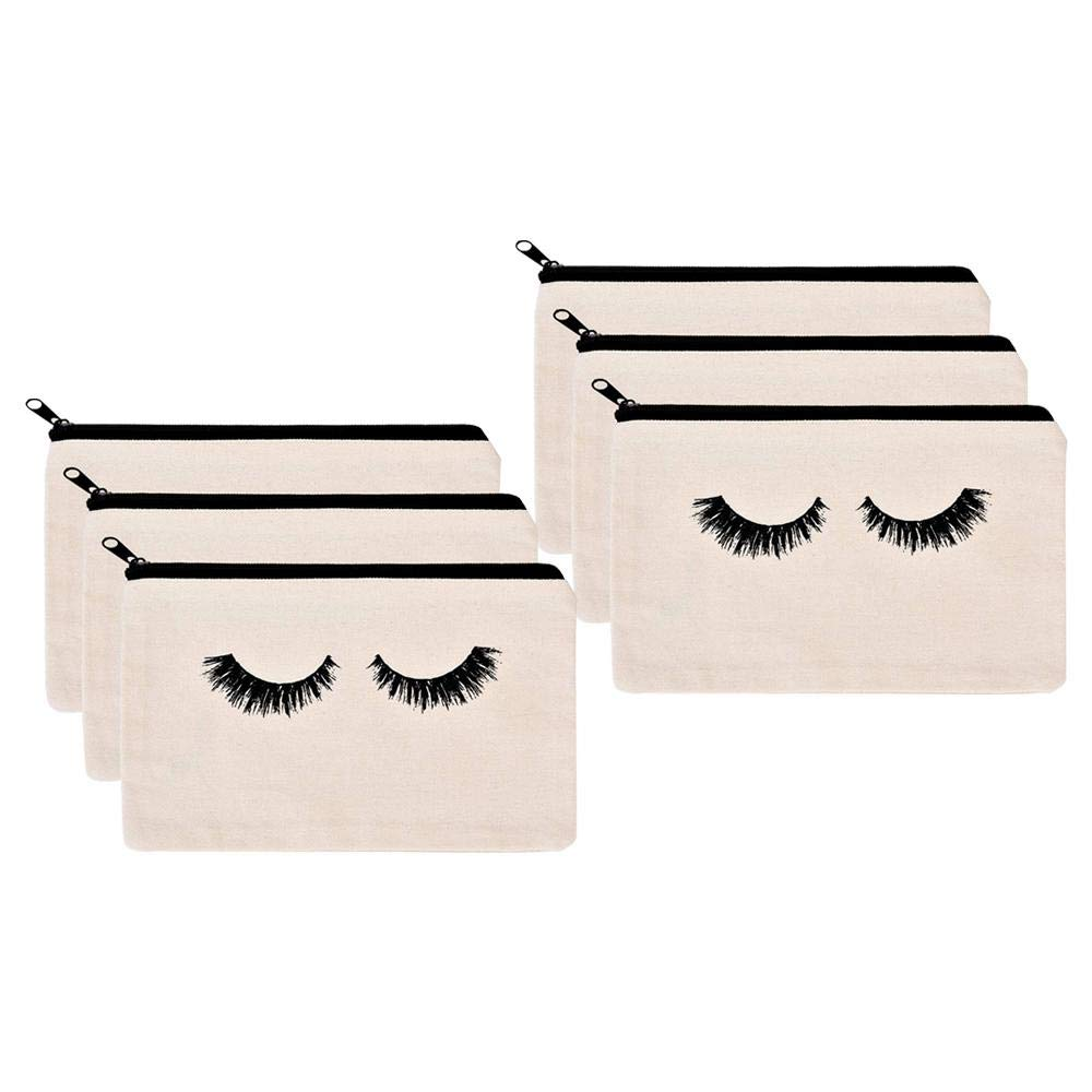 Foonee Make Up Bag Pouch, Makeup Bag, Cosmetic Canvas Case, Cute Closed Eyelashes Cosmetic Bag with Zipper(6 Packs, 9.05 X 5.9 Inch)