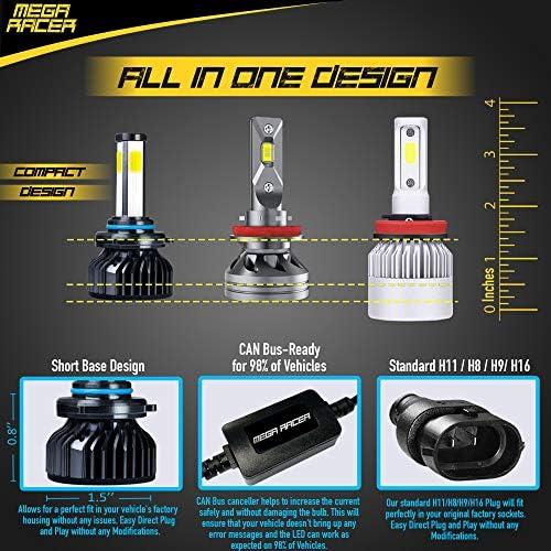 Mega Racer 4 Sided 9005/H10/HB3 LED Headlight Bulb - 60 Watt 6000K Diamond White 10000 LM COB IP68 Waterproof Rating, 2 Pieces