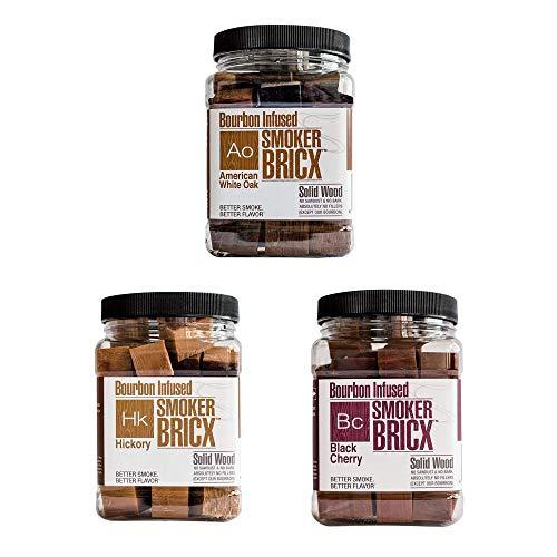 (Smoker Bricx Bourbon Infused BBQ Smoking Chunks 32oz, 3 Pack - American Oak, Black Cherry, and Hickory)