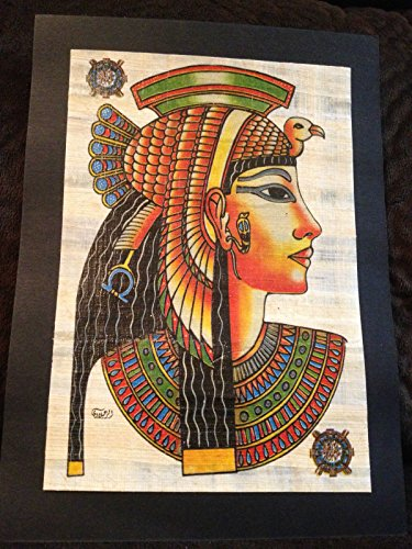 Rare Signed Ancient Egyptian Queen Cleopatra Handmade Painting on Papyrus Plant Antique from Egypt