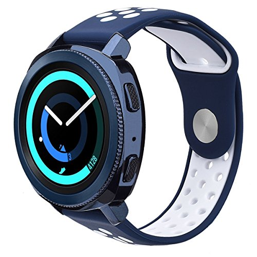 Galaxy Watch 42mm Band/Gear Sport Band - VIGOSS 20mm Silicone Strap Wristband for Samsung Galaxy Watch 42mm R810 & Gear Sport Smartwatch R600 / Garmin Vivomove HR/Garmin VivoActive 3 (Blue/White, S/M)