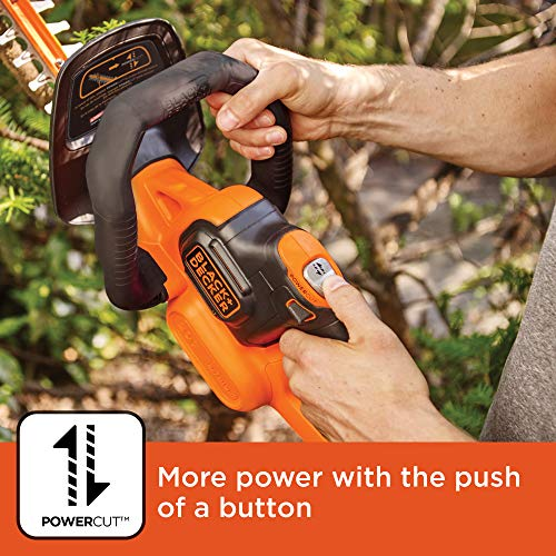 BLACK+DECKER 20V MAX Cordless Hedge Trimmer with POWERCOMMAND Powercut, 18-Inch (LHT321FF)