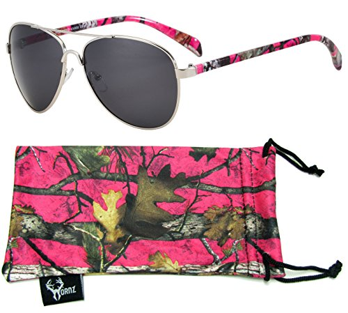 Hornz Hot Pink Camouflage Polarized Aviator Sunglasses for Women & Free Matching Microfiber Pouch Medium Size - Hot Pink Camo Frame - Smoke - Camo Sunglasses Womens