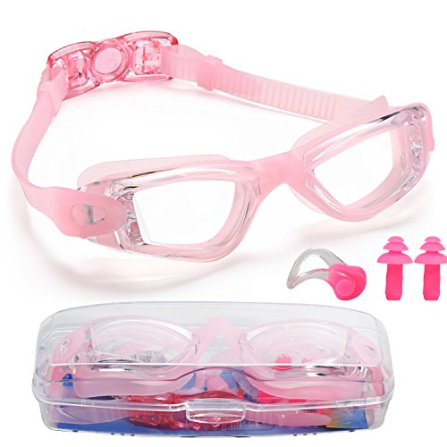 Premium Kid Swim Goggles,Best Swimming Goggles for Boys Girls Child Youth,Triathlon Glasses with Waterproof,Anti-Fog,UV Protection Lenses and Soft Silicone Frame Free Ear Plugs,Nose Clips (Pink)