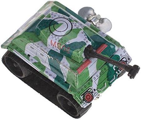 2個 ブリキ製 ミニ 戦車タンク ぜんまい玩具 児童 贈り物 グリーン セット