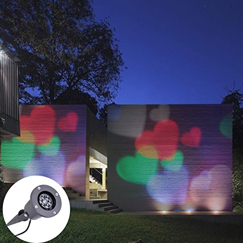 (CO-Z LED Landscape Project Light Waterproof Outdoor/Indoor Snowflake/Heart Shaped Moving Spotlight for Christmas (Colorful Hearts))