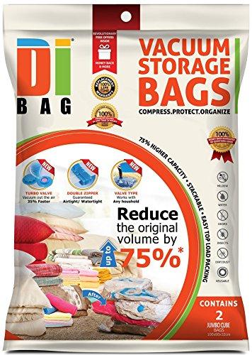 Space Saver Vacuum Storage Cube Bags - 2 Premium Travel Space Bags - Bag Size: 100X80X32 cm - 2X Sealed...