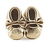 DELEBAO Infant Toddler Baby Soft Sole Tassel Bowknot Moccasinss Crib Shoes (6-12 Months, Gold-1)