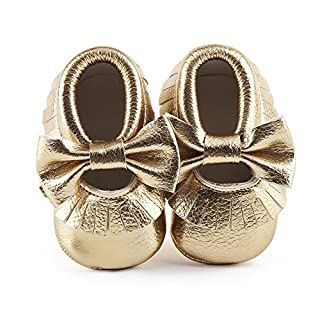 Delebao Infant Toddler Baby Soft Sole Tassel Bowknot Moccasinss Crib Shoes (12-18 Months, Gold)