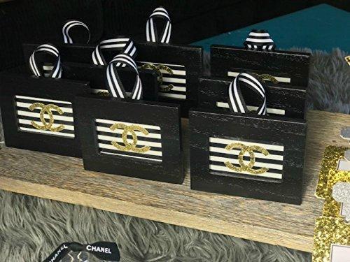Fashionista Black & White Stripe Frame Ornaments -