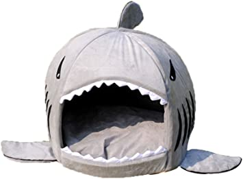 Grey Shark Bed for Small Cat Dog Cave Bed With Removable Cushion,waterproof Bottom