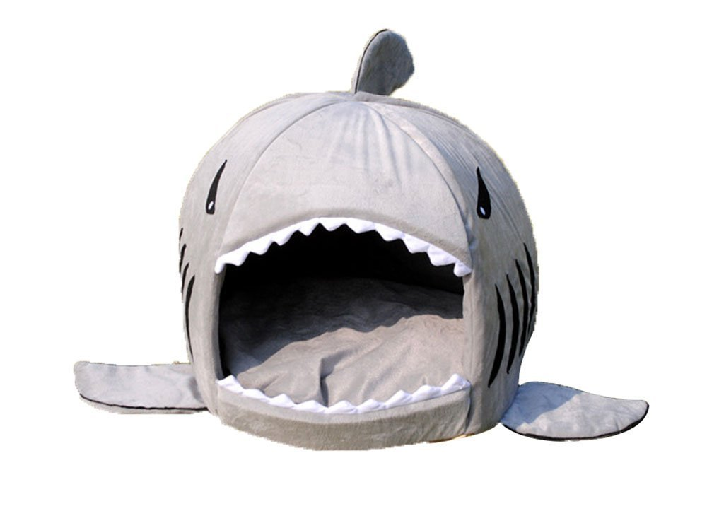 Grey Shark Bed for Small Cat Dog Cave Bed WithRemovable Cushion,waterproof Bottom