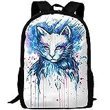 OIlXKV Fantasy Blue Watercolor Cat Print Custom Casual School Bag Backpack Multipurpose Travel Daypack For Adult