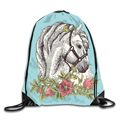 Drawstring Backpacks Bags Daypacks,Boho Style Horse Opium Blossoms Poppy Wreath Equestrian Illustration,5 Liter Capacity Adjustable For Sport Gym Traveling