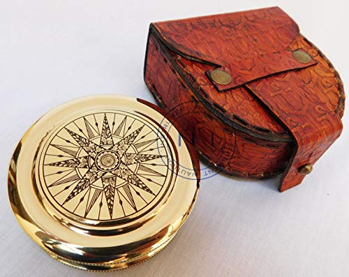 (Sara Nautical Marine Solid Brass Marine Compass Robert Frost Poem Collectible Item for Gifted)