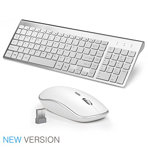 JOYACCESS Wireless Keyboard and Mouse Combo Full-size Whisper-quiet Compact Keyboard Mouse- Silver - Wireless Computer Keyboard