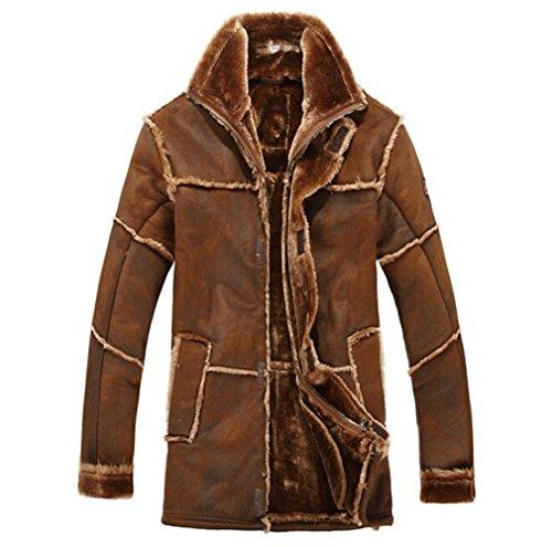 chaqueta ante lujo hombre sintética abrigo cálido Café Chaqueta invierno para de de piel de para SBqzxAwH