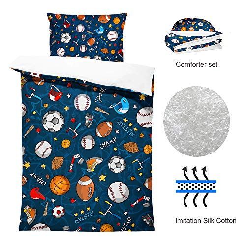 SHINICHISTAR Boys Comforter Set,Baseball and Football Bedding Twin Size for Teens,Sports Fans. (Bedding Twin Size For Teens)
