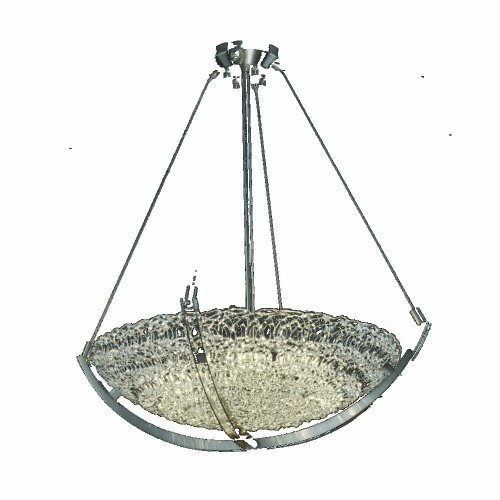 Justice Design Group GLA-9722 - Crossbar 24'' Pendant Bowl - Round Bowl Shade - Brushed Nickel with Lace Glass (Bowl 24' Shade)