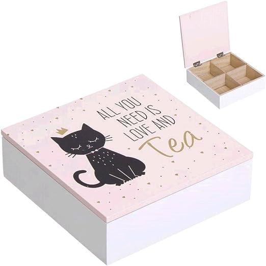DCASA CAJA DE TE CAT LOVER: Amazon.es: Hogar