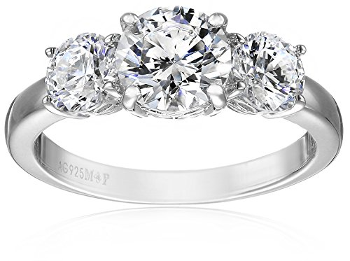 Platinum Plated Sterling Silver Three-Stone Anniversary Ring set with Round Cut Swarovski Zirconia (3 cttw), Size 8