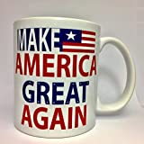 A137 Make America Great Again Coffee Mug, Tea Cup, Donald Trump, us flag, 11 oz ceramic white mug,