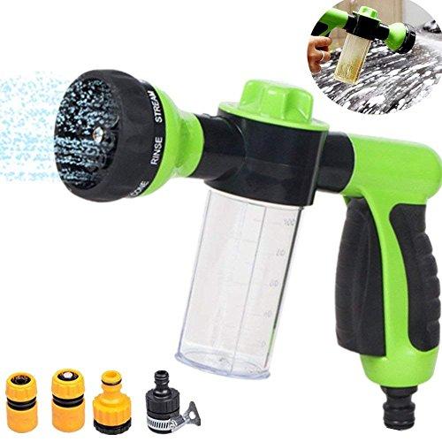 Foam Water Spray Gun, Flow Control High Pressure Water Sprayer Gun with 8 Adjustable Pattern Watering Spray Nozzle, Garden Hose Nozzle Hand Sprayer Best for Car Washing, Garden/Lawn Flower, Floor ()