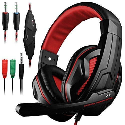 Gaming Headset, Dland 3.5mm verdrahteten Bass Stereo Noise Isolation Gaming-Kopfhörer mit Mikrofon für Laptop-Computer, Handy, PS4 und so on- Volume Control (schwarz und rot)