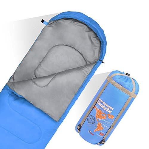 JBM Sleeping Bag with Compact Bag in 4 Seasons Multi Colors Blue Green Insulated Waterproof and Repellent Semi Rectangular Printed Pattern (Blue, 0℃/30℉)