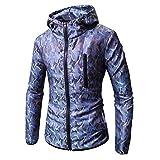 kaifongfu Long Sleeve Hoodie, Men Sweater Top Camouflage Print Shirt Blouse (Blue,L)