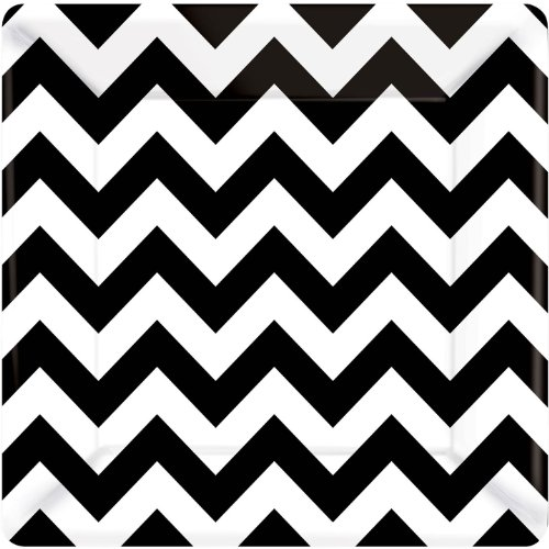 amscan Disposable Paper Plates in Chevron Print (8 Pack), 10 x 10, Black/White -