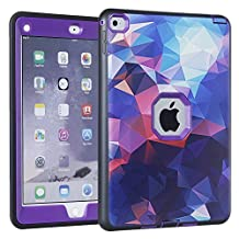 iPad Air 2 Case, iPad 6 Case, KAMII Shock-Absorption Three Layer Hybrid Armor Defender High Impact Resistant Full-Body Protection Case Cover for Apple iPad Air 2/ iPad 6 (9.7 Inch) (Black+Purple)