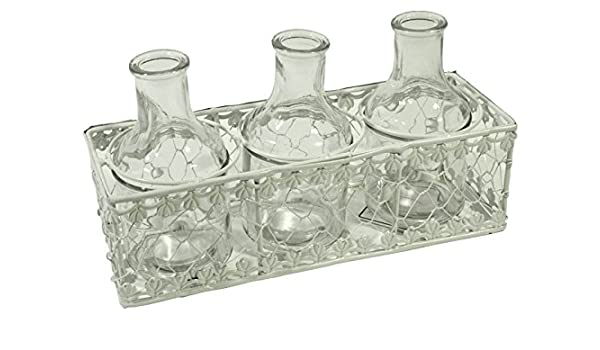Cesta de metal color blanco con 3 botellas de cristal transparente: Amazon.es: Hogar