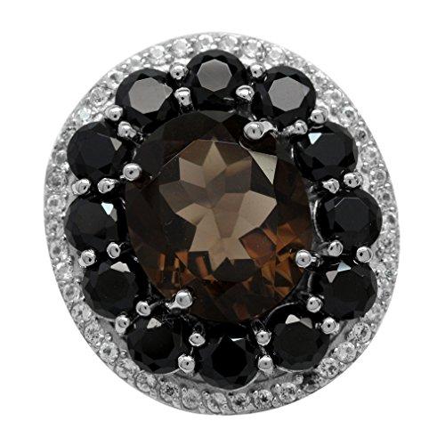5.39ct. Natural Smoky Quartz, Black Spinel&Topaz 925 Sterling Silver Filigree Cluster Cocktail Ring Size 9