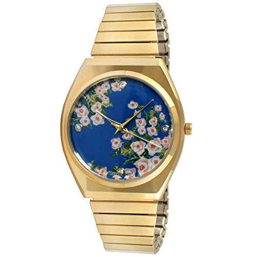 TKO All Gold Watch Expansion Band Stainless Steel Stretch Thin Case Blue Floral Dress Flex Vintage Watch
