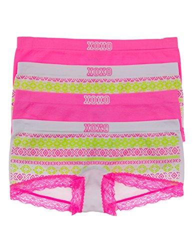XOXO 4 Pack Big Girls Boy Shorts with Lace Leg Trim (Small, White Aztec/Pink)