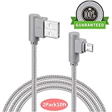 Micro USB 90 Degree Android Lightning Cable, VPR Right Angle USB to Micro USB Fast Charger Cord nylon braided for Galaxy S7/ S6/ S5/ Edge, Note 5/ 4/ 3, HTC, LG, Nexus and More (Grey2Pack10ft)