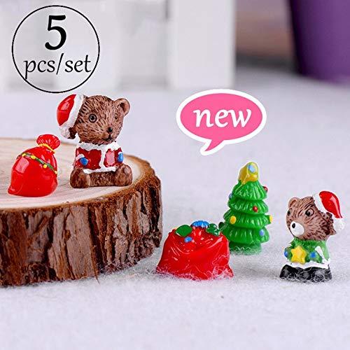ZAMTAC Miniature Christmas Tree Santa Claus Snowmen Gift Box Terrarium Accessories Fairy Garden Figurines Doll House Decor - (Color: a Set) (Set Figurine Snowmen)