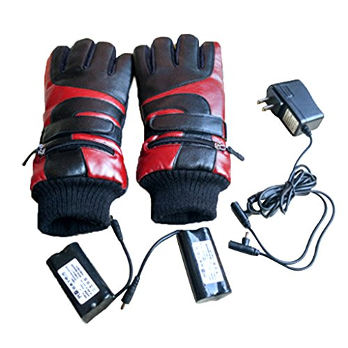 BIAL Unisex Mens Women Bicycle Motorcycle Skiing Battery Powered Winter Electric Heated Gloves Hands Warmer (Red, M) (Heated Cycle Gloves compare prices)