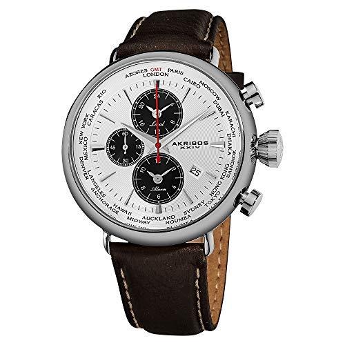 Akribos XXIV Men's AK629WT Quartz Movement Watch with White Dial and Brown with Cream Stitching Leather over Nubuck Strap